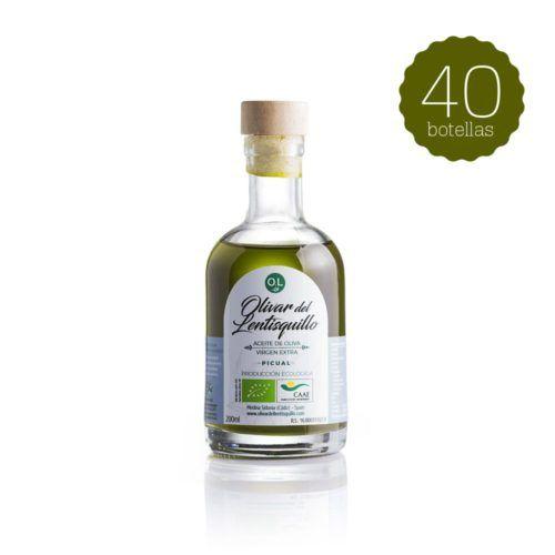 Botella de 200 ml de Aceite de Oliva Virgen Extra Ecológico - Pack 40 botellas | Olivar del Lentisquillo